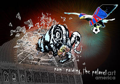 Painting - Football Derby Rams Against Crystal Palace Eagles by Miki De Goodaboom