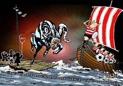 Painting - Football Derby Rams Against Doncaster Vikings by Miki De Goodaboom