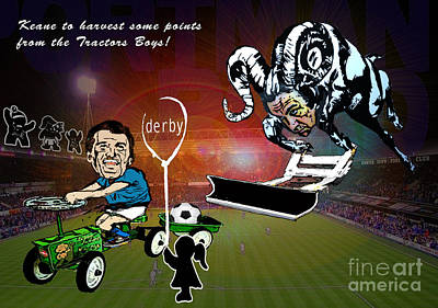 Painting - Football Derby Rams Against Ipswich Tractor Boys by Miki De Goodaboom