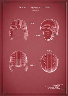 Football Helmet 1935 - Red Art Print by Mark Rogan