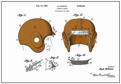 Football Helmet 1954 - White Art Print by Mark Rogan