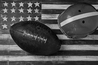 Football Helmet Black And White Art Print