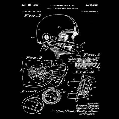 Football Photograph - Football Helmet Patent 1960 Black by Bill Cannon