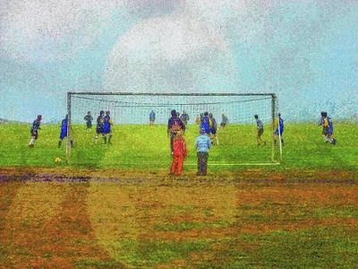 Digital Art - Football In Djupivogur by Frans Blok