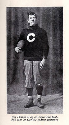 1900s Portraits Photograph - Football, Jim Thorpe In Carlisle Indian by Everett