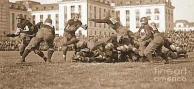 Football Play 1920 Sepia Art Print by Padre Art