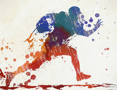 Sports Paintings - Football Player Paint Splatter by Dan Sproul