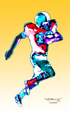 Digital Art - Football Runner Jgibney 5-26-2011 by The MUSEUM Artist Series jGibney