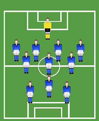Digital Art - Football Soccer  Team In Blue  by Tom Conway
