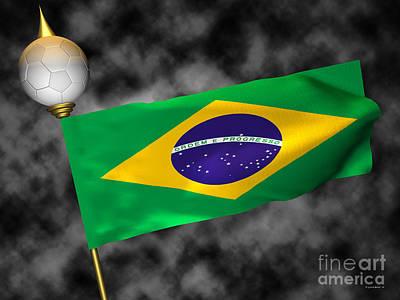 Football World Cup Cheer Series - Brazil Art Print by Ganesh Barad