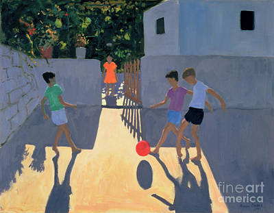 Footballers Art Print by Andrew Macara