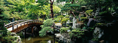 Kyoto Photograph - Footbridge Across A Pond, Kyoto by Panoramic Images