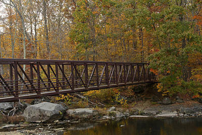 On Trend At The Pool - Footbridge Across A Stream - Rural Pennsylvania in Autumn by Mother Nature