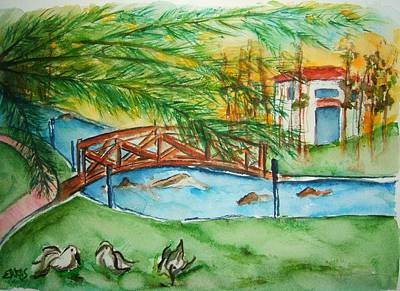 Painting - Footbridge Crossing by Elaine Duras
