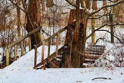 Photograph - Footbridge In Winter by Kathryn Meyer