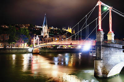 Saone River Photograph - Footbridge Of Lyon At Night by George Oze