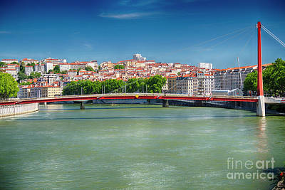 Saone River Photograph - Footbridge To The Lyon Courthouse by George Oze
