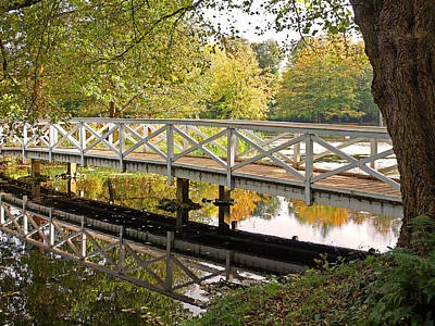 Photograph - Footbridge Over The Lake In Autumn by Gill Billington