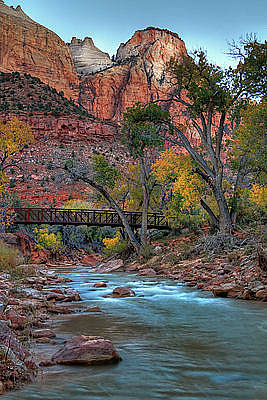 Photograph - Footbridge Over Virgin River by Utah Images
