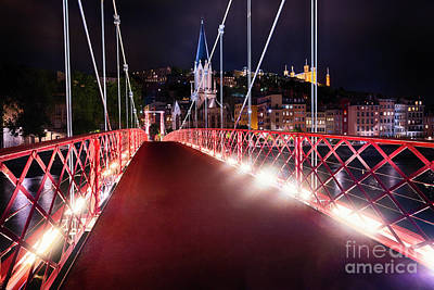 Saone River Photograph - Footbridge St Georges At Night In Lyon by George Oze