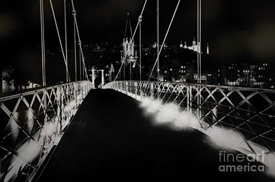 Saone River Photograph - Footbridge To Old Lyon At Night by George Oze
