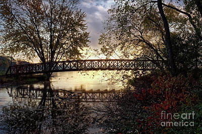 Photograph - Footbridge With Morning Fog Winona Minnesota Photo by Kari Yearous