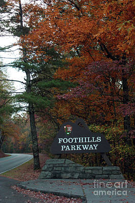 Foothills Parkway Sign In Fall Art Print by Roger Potts