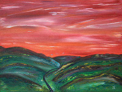Prairie Sunset Painting - Foothills Road by James Bryron Love