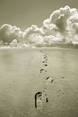 Footprints In Sand Art Print by Mal Bray