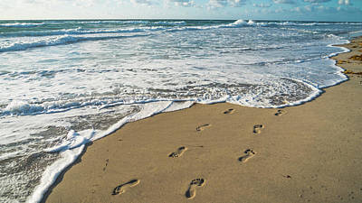 Photograph - Footprints In The Sand Delray Beach Florida by Lawrence S Richardson Jr