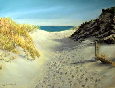 Pastel - Footprints In The Sand by Joan Swanson