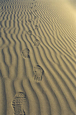 Tennis Shoes Photograph - Footprints In The Sand by Joe  Palermo