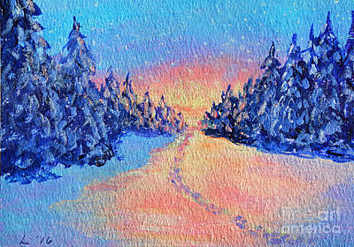 Painting - Footprints In The Snow by Li Newton