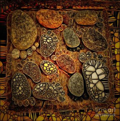 Royalty Free Images Painting - Footprints In The Stones In Ambiance by Catherine Lott