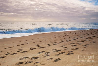 Footprints On The Beach Sand Art Print by Angelo DeVal
