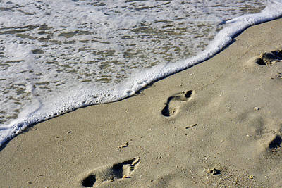 Footprints On The Beach Art Print