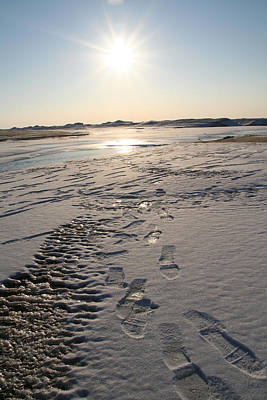 Footsteps In Frozen Landscape Art Print by Christopher Purcell