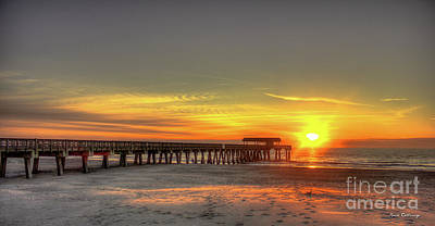 After The Storm Photograph - Footsteps In The Sand Tybee Pier Art by Reid Callaway