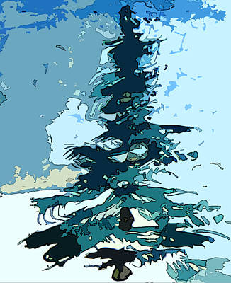 Snowscape Digital Art - For Ever Green by Mindy Newman