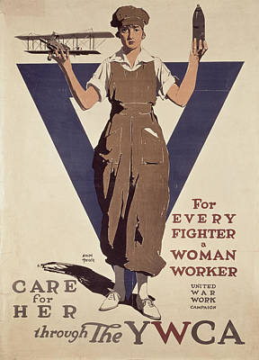 Feminism Painting - For Every Fighter A Woman Worker by Adolph Treidler