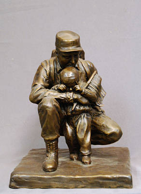 Stan Watts Sculpture - For Future Freedom Bronze Sculpture Of Soldier And Child By Stan Watts by Stan Watts