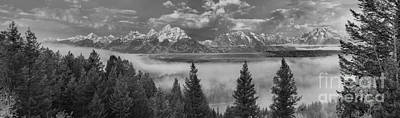 Photograph - Fog In The Snake River Valley Black And White by Adam Jewell
