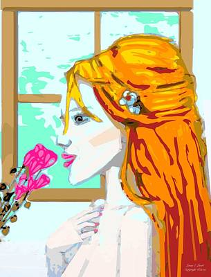 Girl Smelling A Flower Digital Art - For Mee by Larry E Lamb