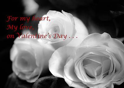 Photograph - For My Heart Valentine Black And White by Joni Eskridge