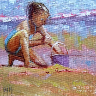 Painting - For The Bucket Little Girl Beach Seashore by Mary Hubley