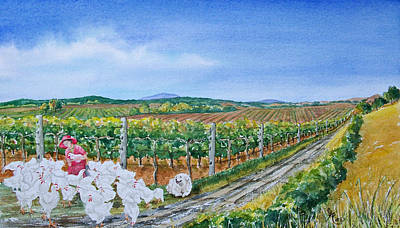 Winery Painting - For The Love Of Chickens by Gale Cochran-Smith