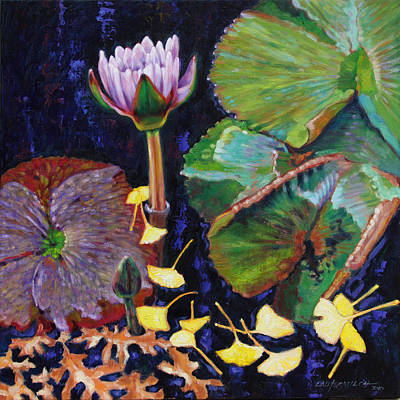 Water Lily Leaves Painting - For The Love Of Color by John Lautermilch