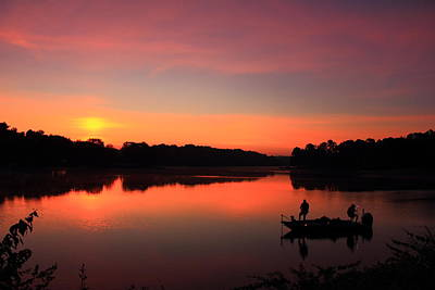 Photograph - For The Love Of Fishing Sunrise Reflections Lake Oconee Georgia Art by Reid Callaway