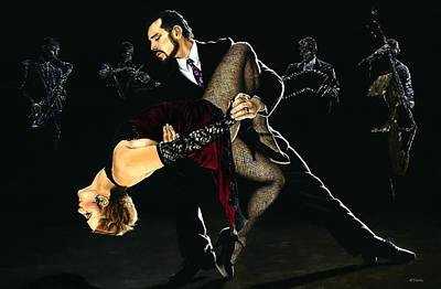 Couple Painting - For The Love Of Tango by Richard Young