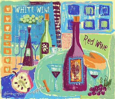 Wine Glasses Digital Art - For The Love Of Wine by Arline Wagner